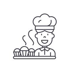 cook preparing desserts line icon concept cook vector image