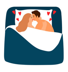 Couple in love in bed vector