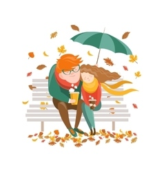 Couple sitting on bench under umbrella vector image