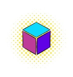 Cube icon in comics style vector image