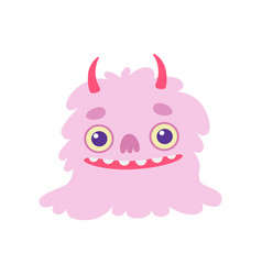 cute smiling toothy monster with horns pink vector image