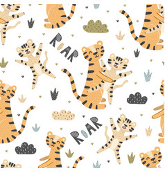 cute tigers mother and baby seamless pattern vector image