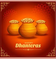 Decorative happy dhanteras festival card vector