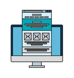 Desktop with webpage template vector