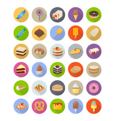 desserts flat icons pack vector image