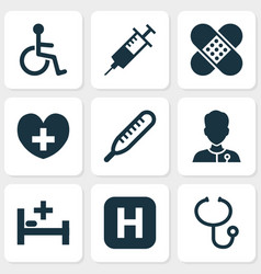 drug icons set with body check medic bed and vector image