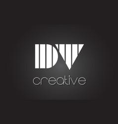 dv d v letter logo design with white and black vector image