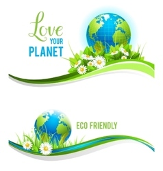 Eco banners and globe vector