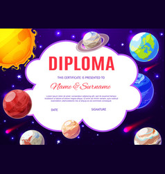 education school diploma with solar system planets vector image