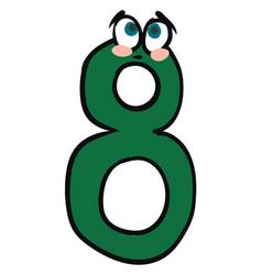 emoji sad green number eight or 8 or color vector image