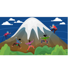 Equipped group people alpinists men women vector