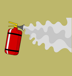 Extinguisher from which foam extinguishes fire vector
