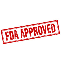 Fda approved red grunge square stamp on white vector