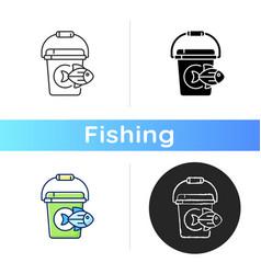 Fishing bucket icon vector