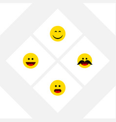 Flat icon emoji set of laugh cheerful smile and vector