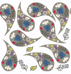 floral doodle paisley seamless pattern it is vector image