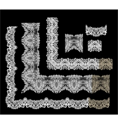 Frame Elements Set - different lace edges and bord vector