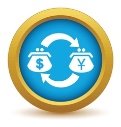 Gold dollar yen exchange icon vector image
