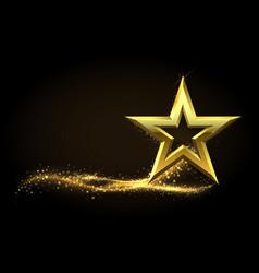 Golden star realistic metal figure with glowing vector