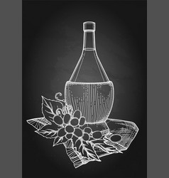 graphic bottle of wine decorated with grape leaves vector image