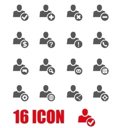 grey people search icon set vector image