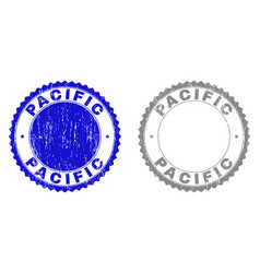 Grunge pacific scratched stamps vector