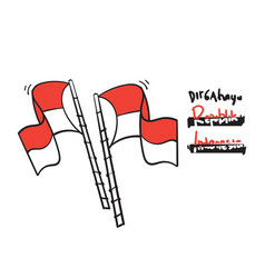 Hand drawn doodle red and white flag vector