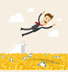 happy businessman jumping into money business vector image