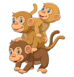 Happy monkey family with her two babies vector