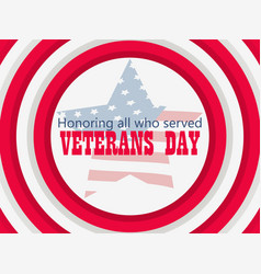 Happy veterans day 11th of november honoring all vector
