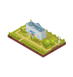 Historic university building isometric layout vector