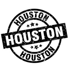Houston black round grunge stamp vector