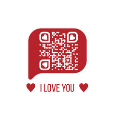 I love you text qr code in red chat bubble on vector