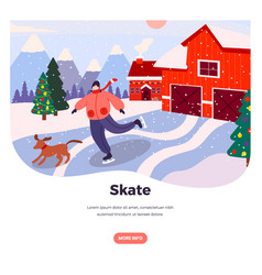 ice skate web banner design template vector image