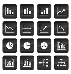 Icons of various charts and diagrams with black vector image