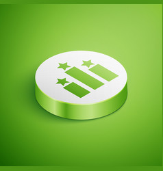 Isometric ranking star icon isolated on green vector