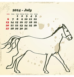 July 2014 hand drawn horse calendar vector image