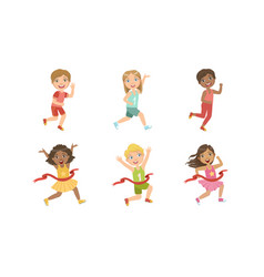 Kids running set adorable boys and girls doing vector