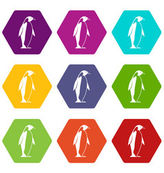 King penguin icon set color hexahedron vector