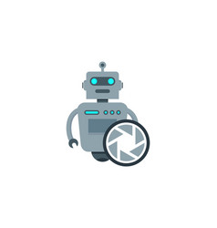 lens robot logo icon design vector image