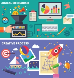 Logical and the creative process vector image