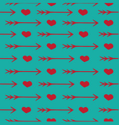 Love seamless pattern romantic hearts and arrows vector