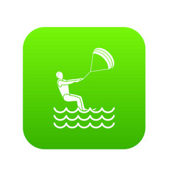 man takes part at kitesurfing icon digital green vector image