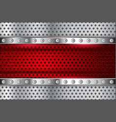 Metal perforated texture with red element vector