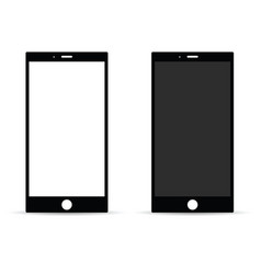 Mobile phone with white and black screen vector