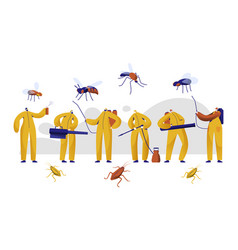 mosquito pest control professional character set vector image