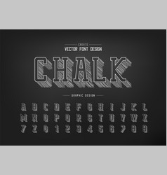 Pencil sketch shadow font and alphabet chalk vector