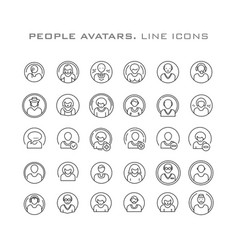 People avatars line icon vector