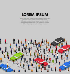 People crowd and cars background vector