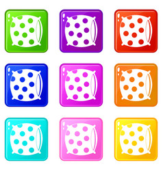 Pillow with dots icons 9 set vector